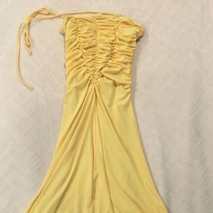 Ruched fitted high-low dress in summery yellow